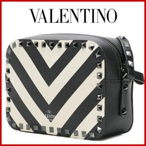 Valentino Garavani Rockstud striped camera bag